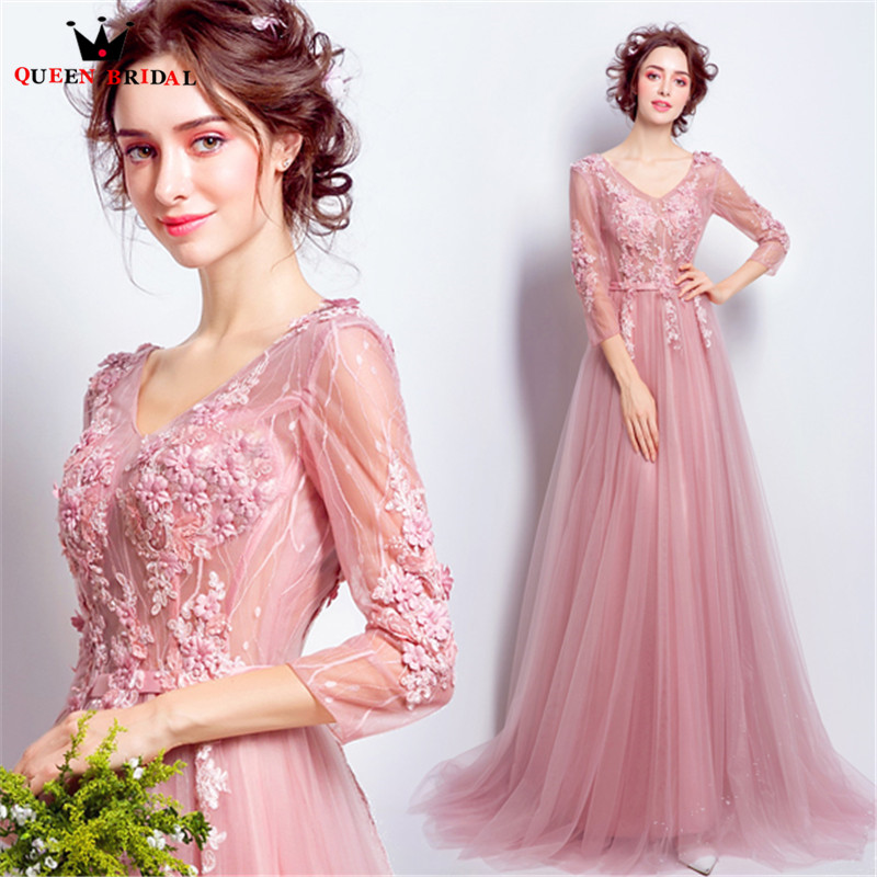 QUEEN BRIDAL Evening Dresses 3 4 Sleeve Lace Beading Pink Long Formal Bride  Party Dress Evening 89f9fd8c08b9