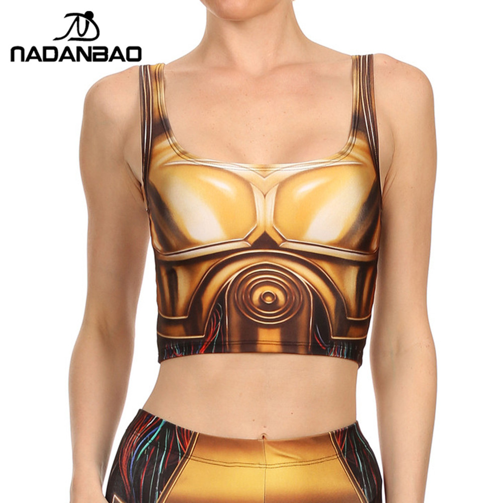 NADANBAO Brand New Arrival Summer GOLD ROBOT   Tops   Sexy Fitness Star Wars   Tank     Top   Hot Sale 3D Digital Printed Cropped   tops