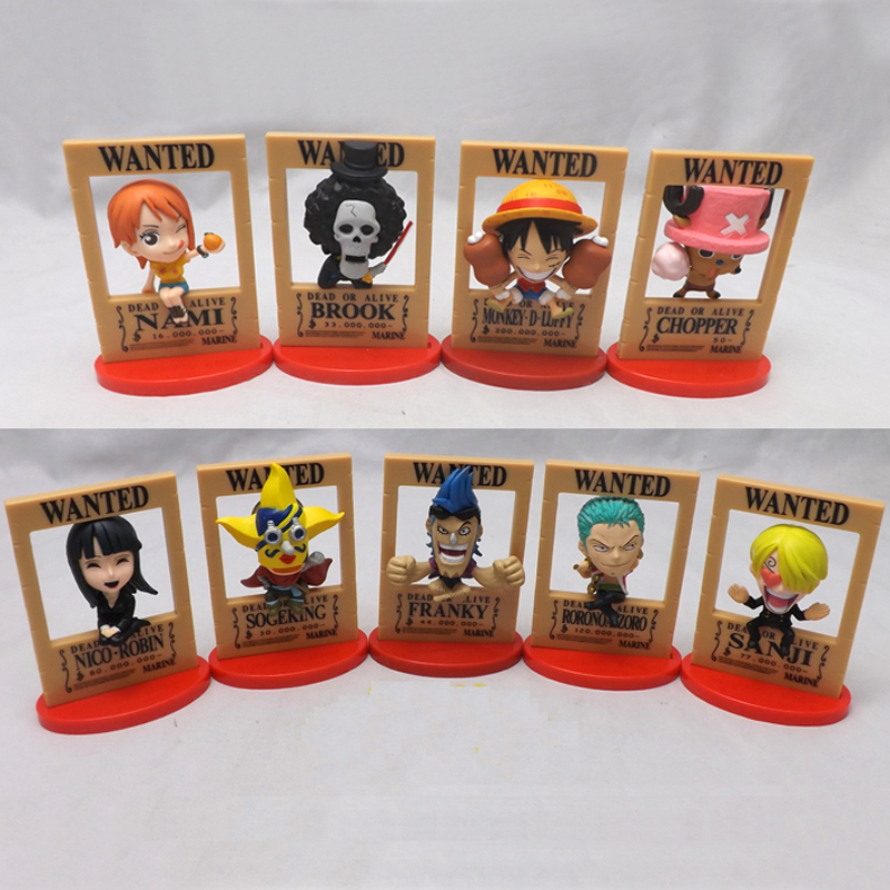 for collection 9 Styles Dead or Alive Wanted One Piece anime figure Nami Robin Luffy Zoro Model Toy Gift full set