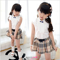 New Plaid Girls Summer Sets Costumes blouse+plaid skirt 2piece Girls Skirt Suits Kids Cloths For Girls meisjes kleding B0657