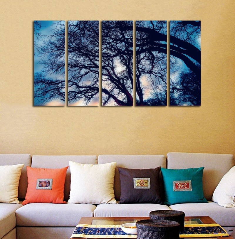 ALMUDENA Frameless 5 Pieces/Set Big Tree Shadow Landscape Painting ...
