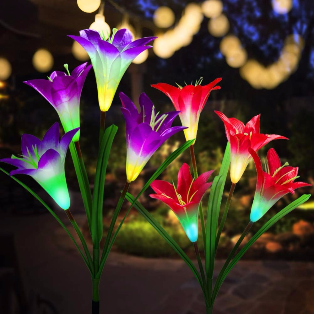 Pack of 2Pcs Solar Powered Garden Decortions Stake Lights with 8 Lily Flower Purple and White Multi-Color Changing LED Outdoor Solar Stake Lights for Garden,Patio,Backyard