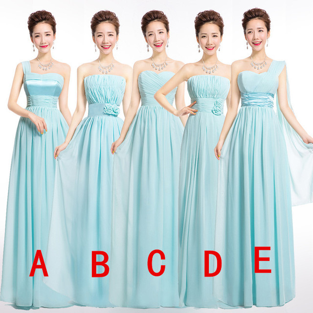 Icy Blue Winter Bridesmaid Dress Formal Long Chiffon Lace Up Wedding Party Pastel Prom