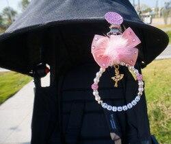 -- Qualquer nome personalizado rosa impressionante bling adorável charme bebê carrinho de bebê carrinho de bebê acessórios do brinquedo para o bebê das meninas dos meninos do ideal presente