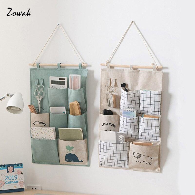 organizador plegable de tela con 7 bolsillos para colgar con malla para guardar juguetes beige carteras y toallas KEEGH Almacenamiento para colgar sobre la puerta
