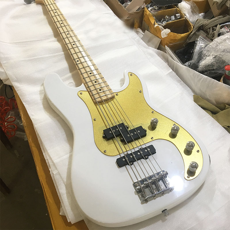 White Electric Bass Guitar with 4 Strings,Gold Pickguard,Rosewood Fingerboard,Offer Customized