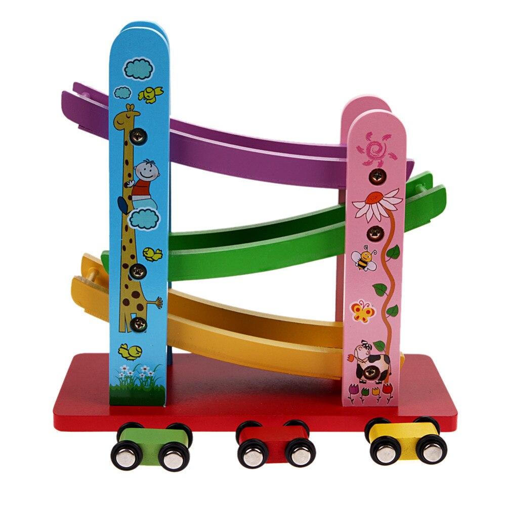 baby holzspielzeug bunte holz rutschig auto mit 4 mini auto kinder p dagogisches spielzeug f r. Black Bedroom Furniture Sets. Home Design Ideas