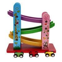 Brinquedos De Madeira do bebê Colorido Carro Escorregadio com 4 Mini Carro de Madeira Crianças Brinquedos Educativos para Crianças Presente de Natal Aniversário