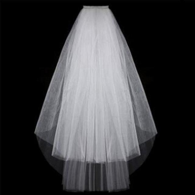 Simple and Elegent Wedding Veil with Comb , Two Layers Short White Wedding Veil