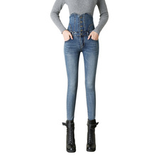 New 2017 Spring Autumn Women Blue Black Jeans Students Stretch Skinny Female Slim Pencil Pants Denim Ladies Trousers цена в Москве и Питере