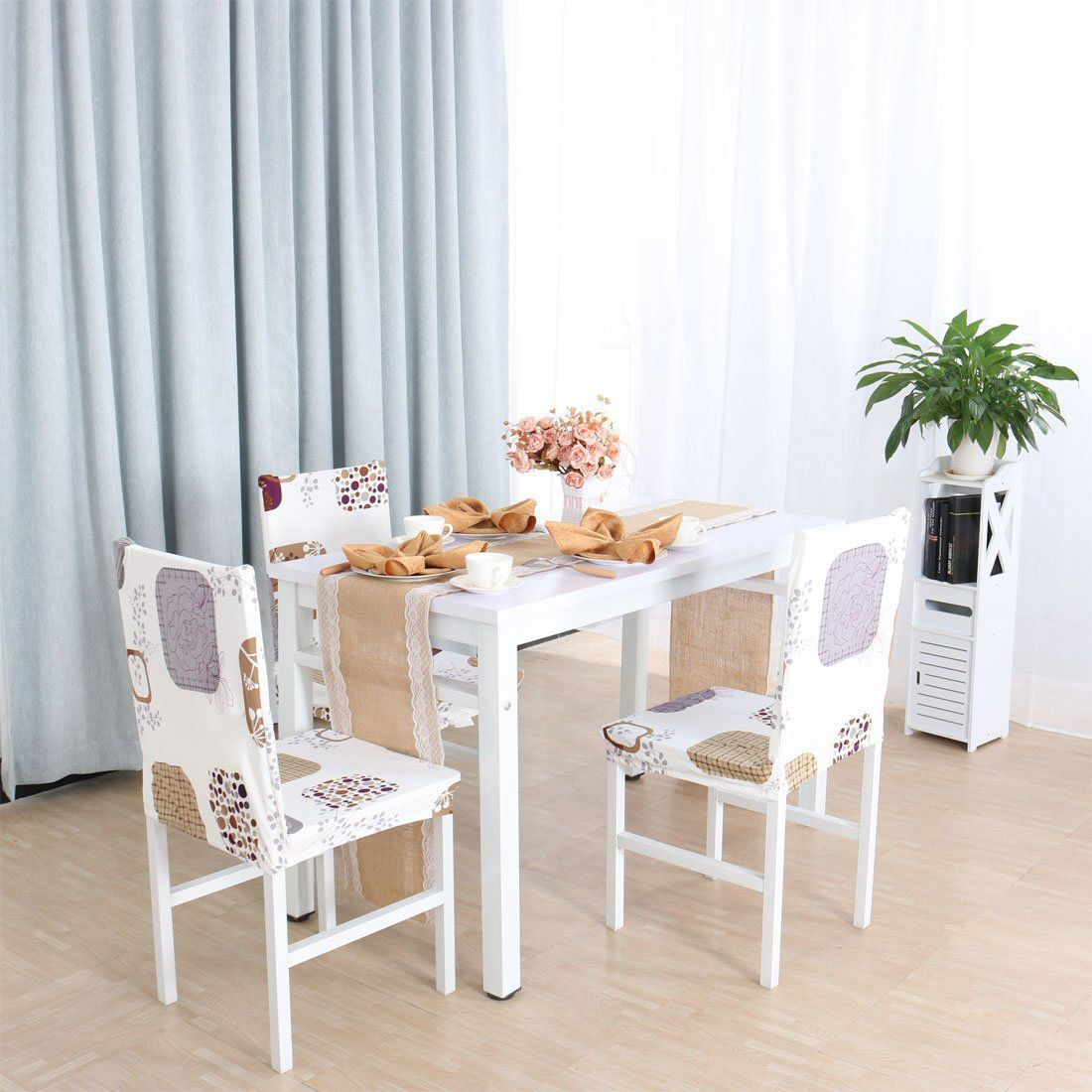 Square Removable Washable Short Chairs Covers Protector Seat Slipcover for Wedding Party Restaurant Banquet Home Decor Dining