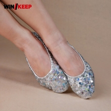 Light Wear-Resistant Women 2018 New Slip On Pointe Shoes Sequined Leather Shoes Laides Footwear Sneakers For Women Practise Shoe