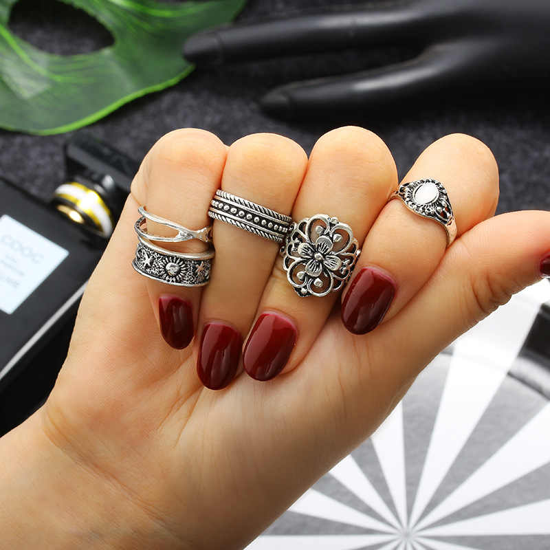 5pcs Fashion Simple Delicate Joint Rings Different Shape Jewelry Wave Combined Rings For Women Wedding Party Tail Ring