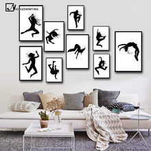 Girl Music Hip Hop Street Dance Minimalist Art Canvas Poster Painting Black White Wall Picture Modern Kids Room Decoration C431(China)