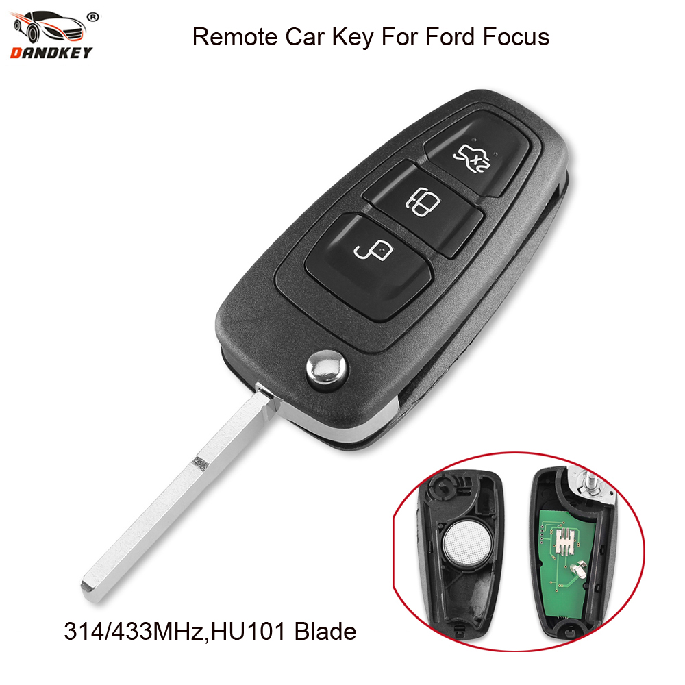 DANDKEY Modified Remote Key Fob 3 Buttons 315/433MHz Folding Flip Key Case for Ford Fiesta Focus Mondeo S Max HU101 Blade