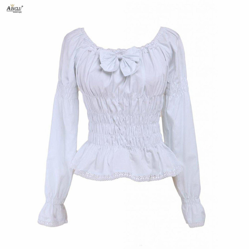 Hot Selling Womens Lolita Blouse 2 Colors Black and White Cotton Bow Long Sleeves Lolita Tops Cosplay XS-XXL Free Shipping