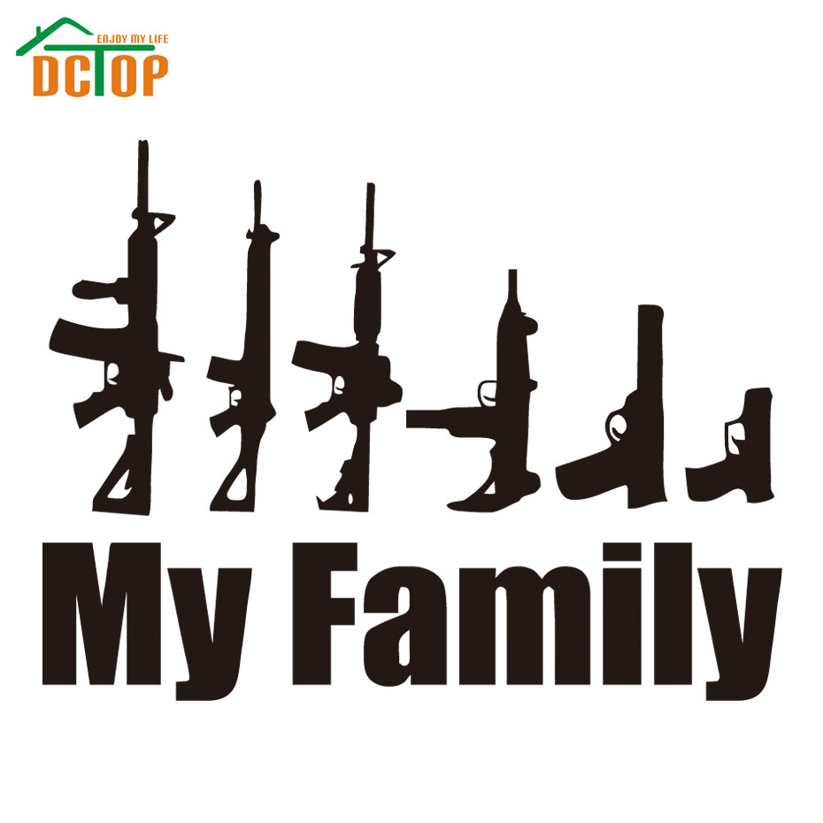 My family guns funny decals window auto motor laptop sticker waterproof removable vinyl sticker car goods accessory car styling