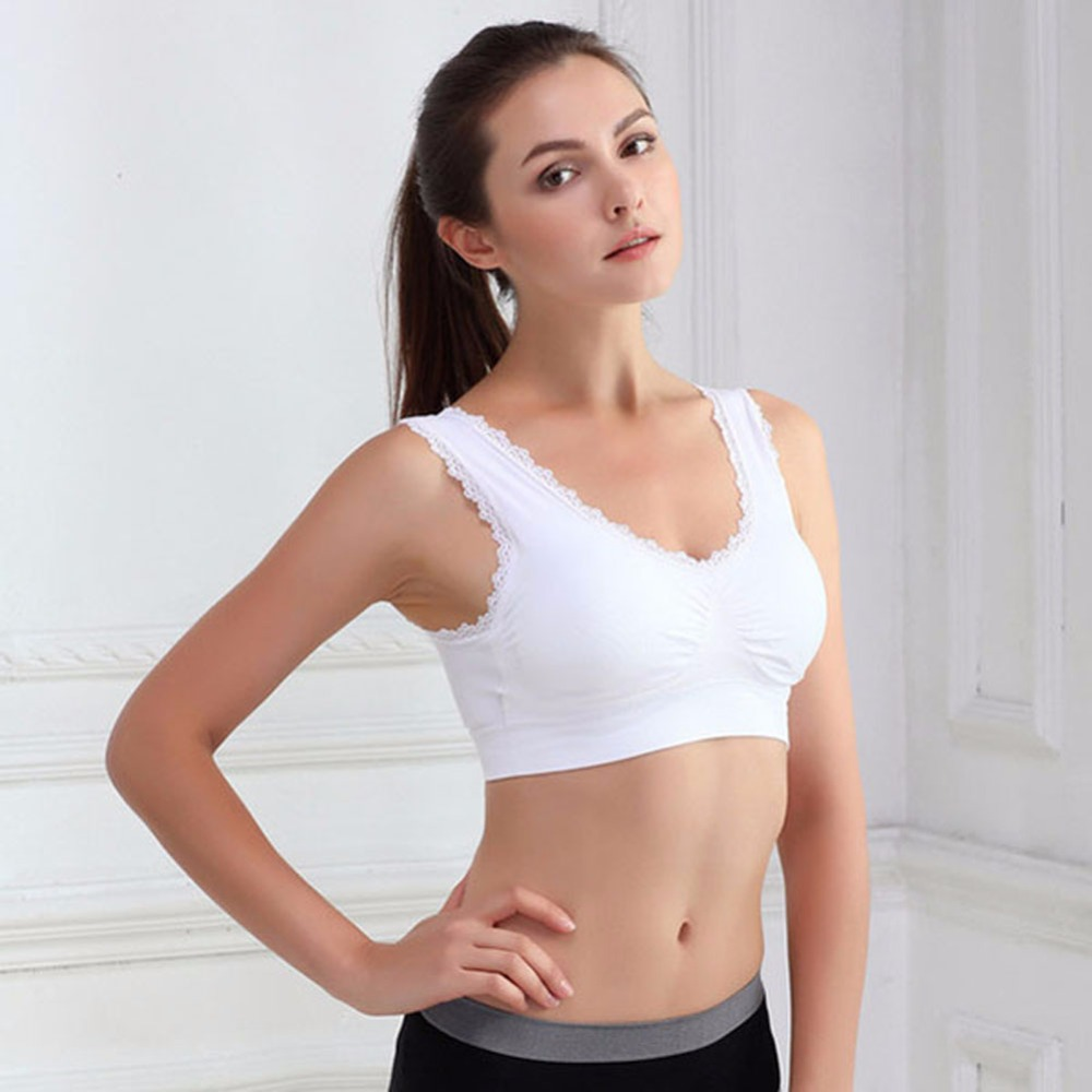 Women Yoga font b Sports b font font b Bra b font Lace Leisure Crop Top