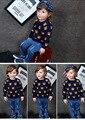 2016 invierno Cachorros doble bebé de punto ropa de algodón grueso suéter de los niños varones y muchachas del estilo de inglaterra