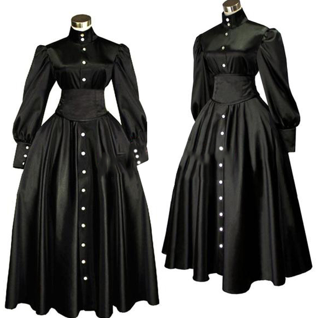 Women\'s Black Renaissance Medieval Dress Vintage Southern Belle ...