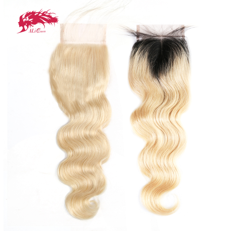 Ali Queen Hair Products Brazilian Body Wave 613 or 1b613 Virgin Hair Lace Closure 4x4 Free