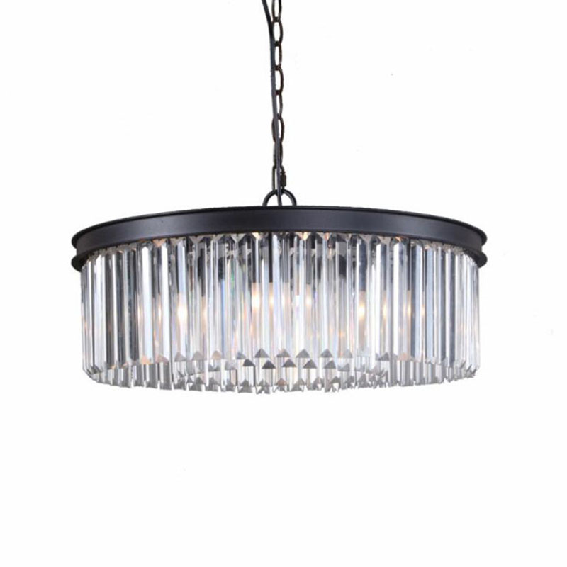 Round Shape Crystal Chandelier Lighting Luminaires Hanging Light for Restaurant Crystal American Style Lamp