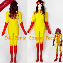 Free Shipping DHL Halloween Costumes For Women Yellow And Red Marvel Comics Firestar Spandex Superhero Costume with Mask SHS409