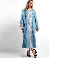 3aac6b67cbd6f6 Women Sequin Long Dress Islamic Muslim Middle East Robe Long Sleeve Dresses  Autumn Casual Full Women
