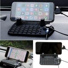 Universal Car Dashboard Non-slip Mat Holder + USB Charge Cradle 5V 2A Detachable Fast Charging Mobile Phone GPS Mount Bracket