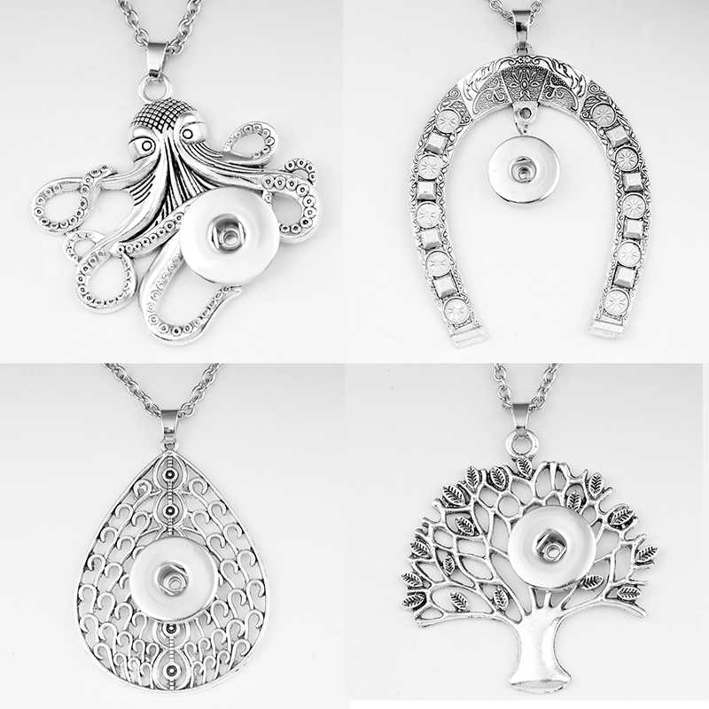 MY1977  Horseshoe  octopus Drop shape  tree of life  Elephant   Scorpion 18mm snap button jewelry   necklace & pendants  DIY