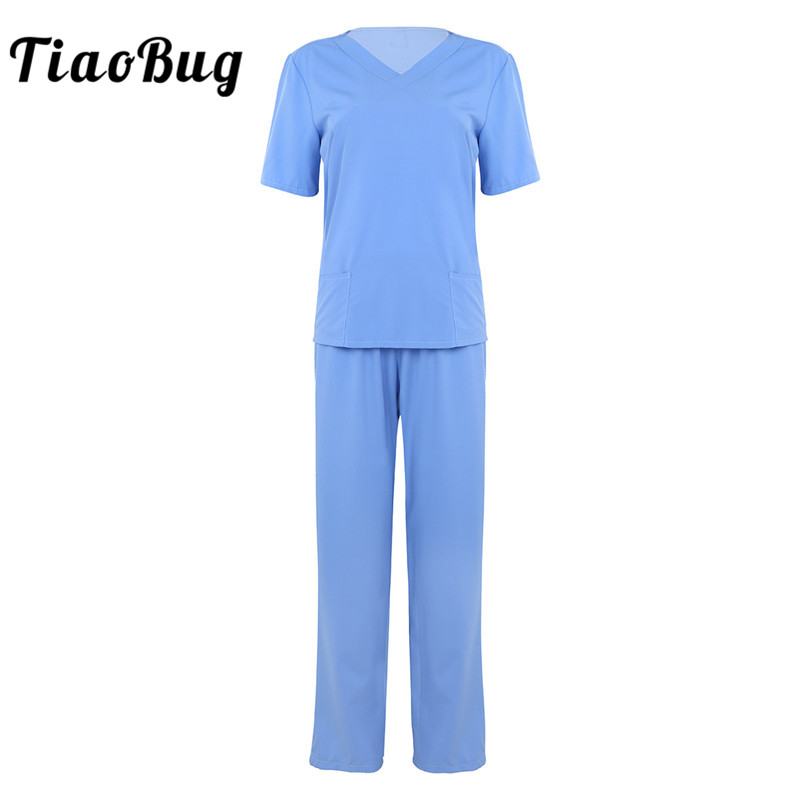 TiaoBug Unisex Adult Hospital Doctor Nurse Scrubs Uniform Suits Short Sleeves Tops With Long Pants Medical Service Costume Set