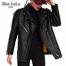 MAX Luluหรูหรายุโรปแบรนด์Motoเสื้อผ้าสตรีFauxแจ็คเก็ตหนังฤดูหนาวWARM FUR Chaqueta Mujer PU BIKERเสื้อ