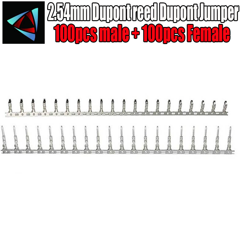 100pcs Male + 100pcs Female 2.54mm Dupont Reed Dupont Jumper Wire 2.54 Dupont Languette Connector Terminal Pins Crimp