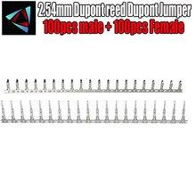 100pcs male + 100pcs Female 2.54mm Dupont reed Dupont Jumper Wire 2.54 Dupont languette Connector Terminal Pins Crimp