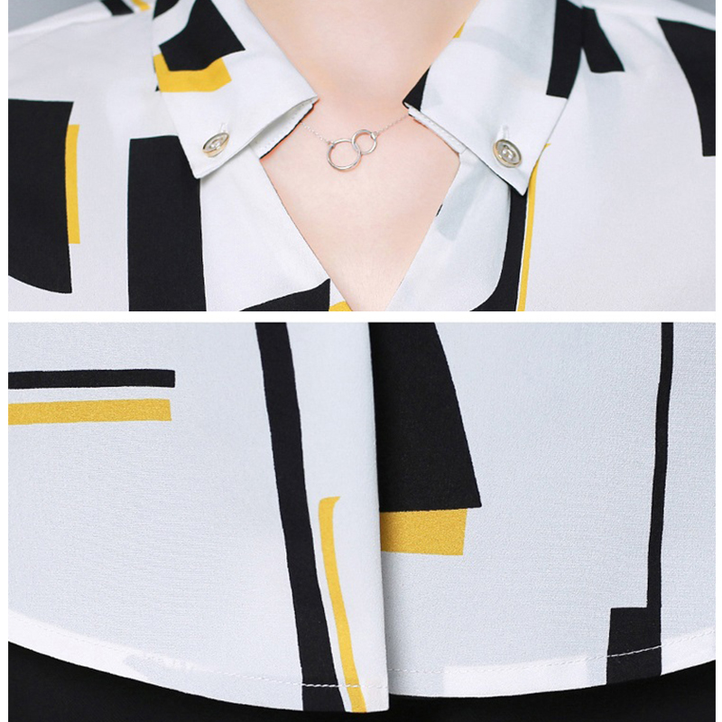 2019 Spring Women office lady Chiffon Shirt blusas femme V-Neck Cotton Geometric Print Blouse elegant Long sleeve Striped Blouse 6