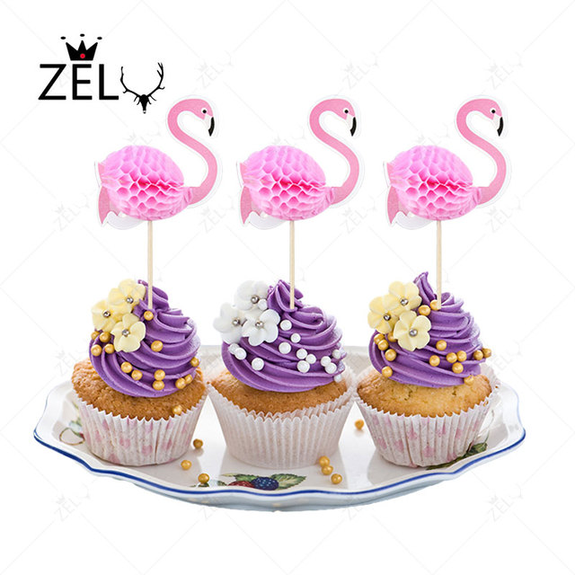 ZELU 2pcs Flamingo Party Cupcake Toppers Birthday Cakes Topper Picks