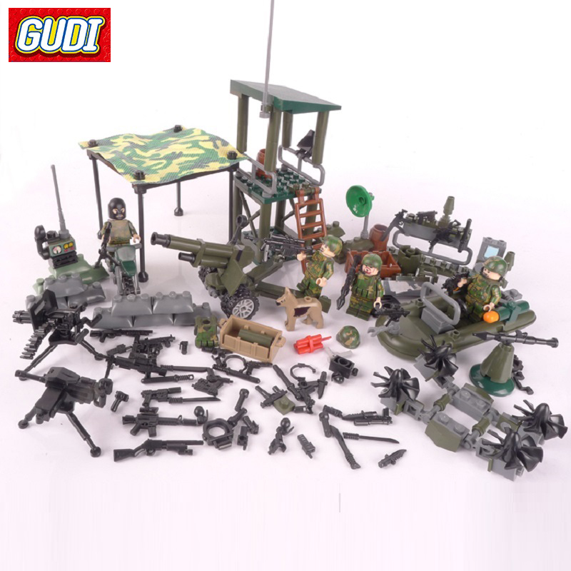 GUDI 4in1 Military Firewire Blocks Soldier War Weapon Cannon Dog Bricks Building Blocks Sets SWAT Classic Toys For Children gudi new toys educational assembled military war weapon vehicle tank plane 8 in 1 plastic building blocks toys for children