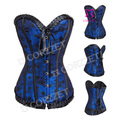 Waist Trainer Corsets Latex Hot Body Shaper Women Blue Corset Gothic Polka Dot Patern Lace Up Overbust Bustier Corsete Corsette