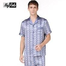 Тенденции моды плед Летние короткий рукав 100% подлинные шелковые мужские атласные пижамы мужской салон пижамы наборы шелк pijama hombre verano