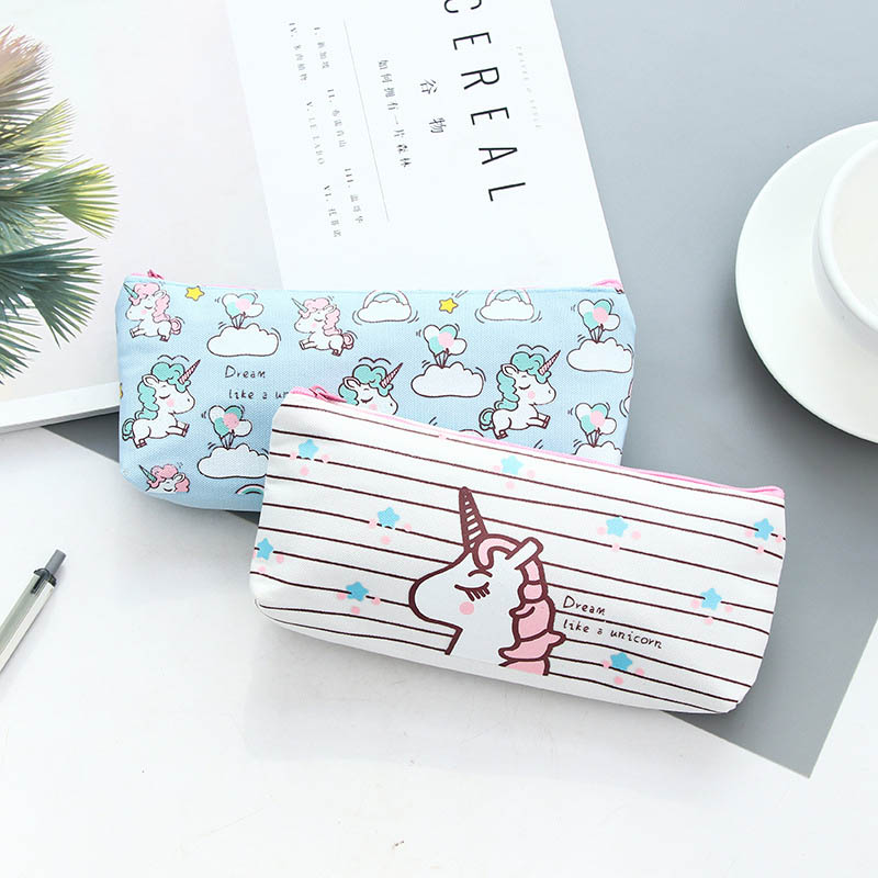 Cute Cartoon Animal Unicorn Pencil Cases Kawaii Canvas School Supplies Stationery Pencil Case Box for School Girl Kalem Gifts in Pencil Bags from Office School Supplies