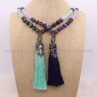 Wholesale 2Pcs Onxy Charm Tassel Necklace Handcrafed Mix Color Onxy CZ Bead Long Tassel Pendant Necklace