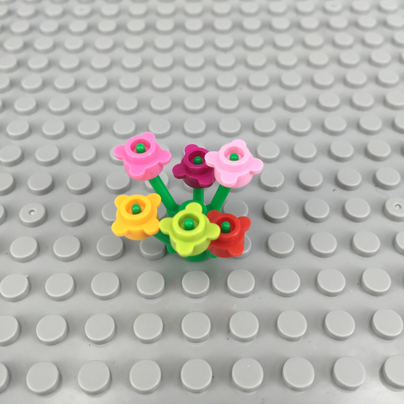 City Garden Grass Flowers Plants Bush Tree DIY Block Brick MOC Part Building Blocks Compatible with Legoingse Assemble Particles