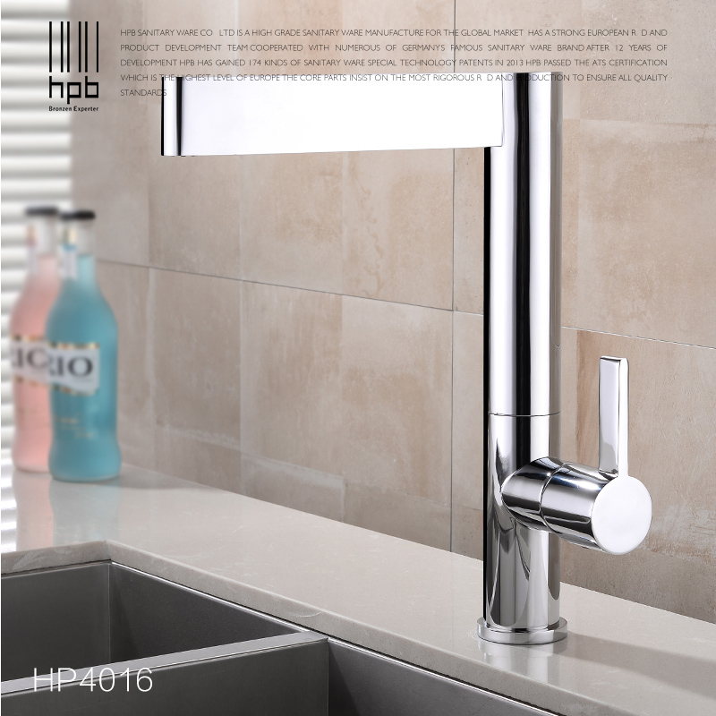 HPB Brass Kitchen Faucets Sink Mixer Tap Single Handle Single Hole Hot And Cold Water Deck Mounted Contemporary Style HP4016 donyummyjo brass sink pull out kitchen faucet hot cold mixer water tap deck mounted single hole single handle polished 8023