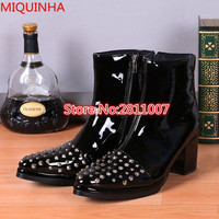 European Fashion Men Black Patent Leather Ankle Boots Studded Spikes Pointed Toe Mid High Heel Zip