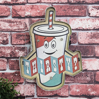 Retro Thirsty Drink Cola LED Neon Signage Illuminated Metal Signs Vintage Home Bar Cafe Wall Decor