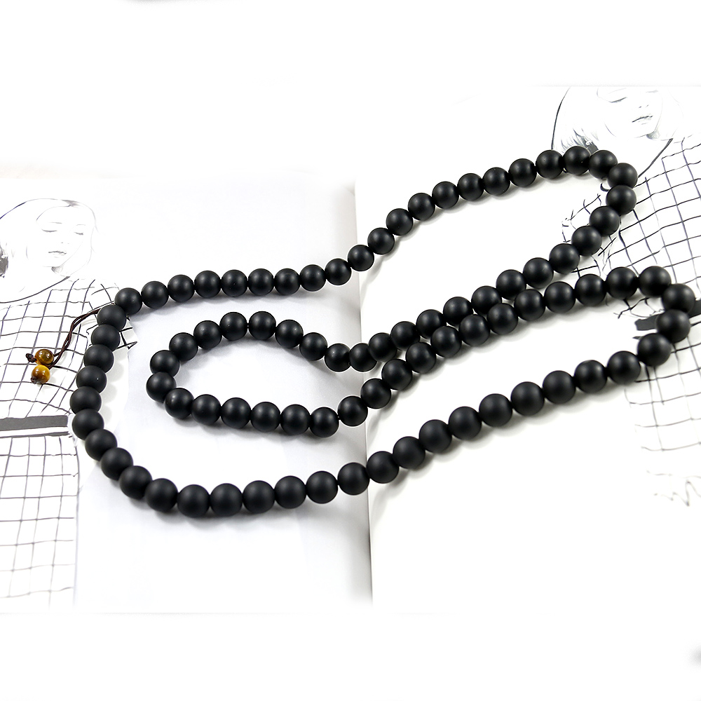 Natural Matte Black Onyx Handmade Necklaces 10mm Beads Mala Necklace Long Necklace Energy Men Jewelry