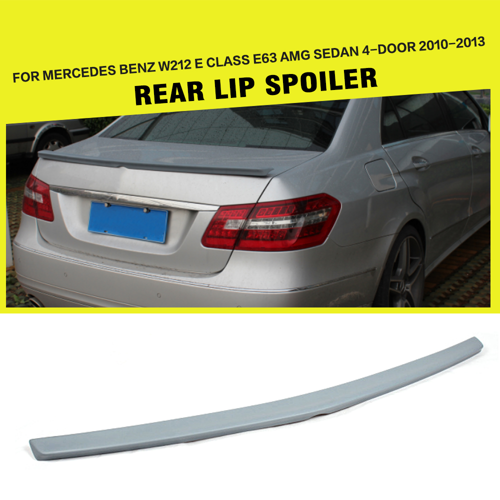 PU Unpainted Grey Auto Rear Spoiler Boot Lip Wing Car Sticker for Benz E Class W212 E63 AMG E550 E350 2010 2013 Car Styling