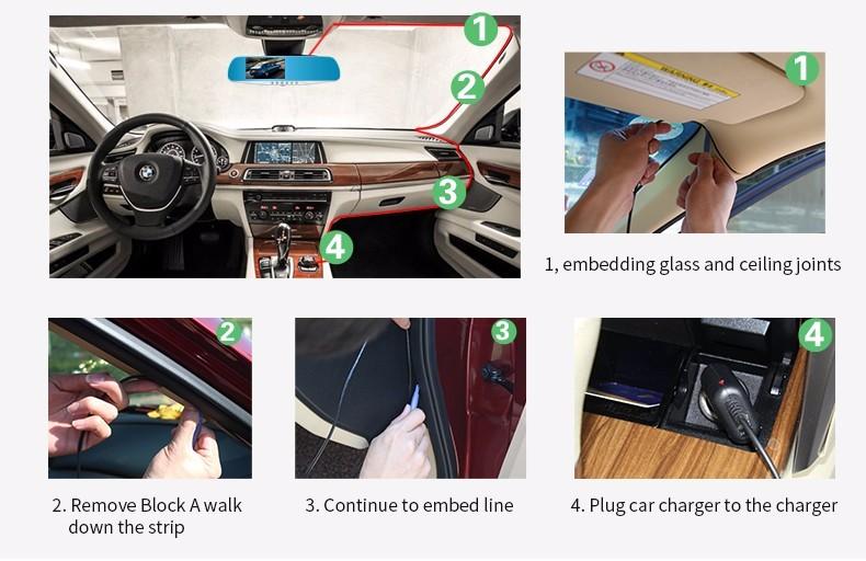 E-ACE Car Dvr Camera Led Lights Blue Rearview Mirror FHD 1080P Night Vision Video Recorder Dual Lens Auto Registrator Dash Cam 30