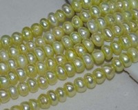 Lots 12STRS A 5 6mm Luster Yellow Green Button Freshwater Pearl 10484
