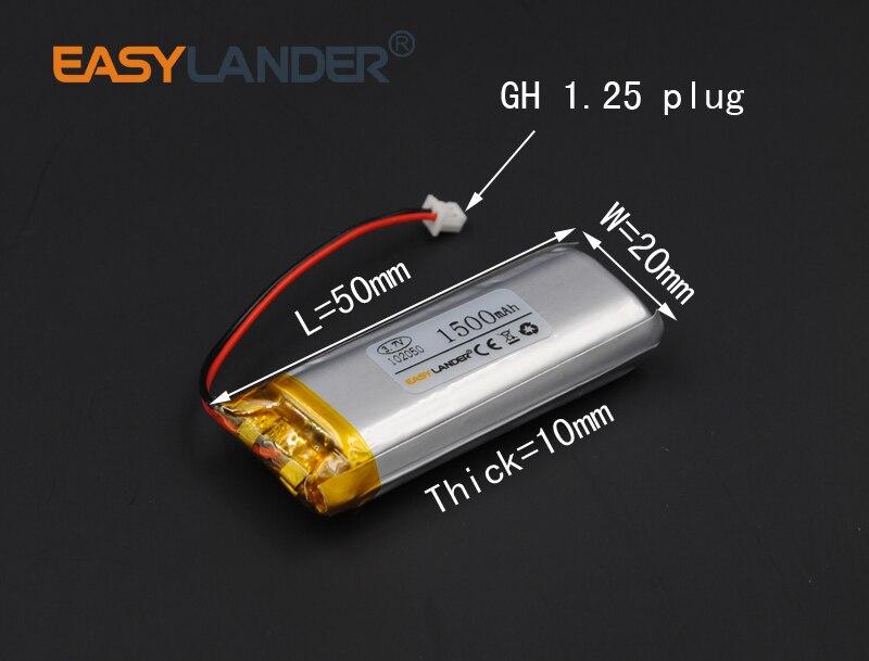 102050 3.7V 1500mAh Lithium li-Polymer Li-ion Battery For motorcyle bluetooth convert DIY Sex toy LED Light Recording Pen MP3
